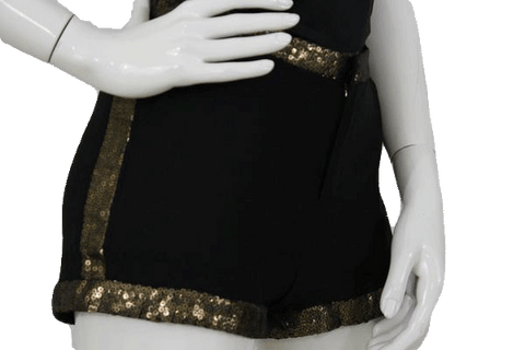 Black Shorts with Gold Sequin Trim Size Small (SKU 000070)