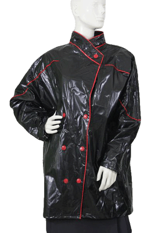 Black Patent vegan Leather Coat Size Medium (SKU 000109)