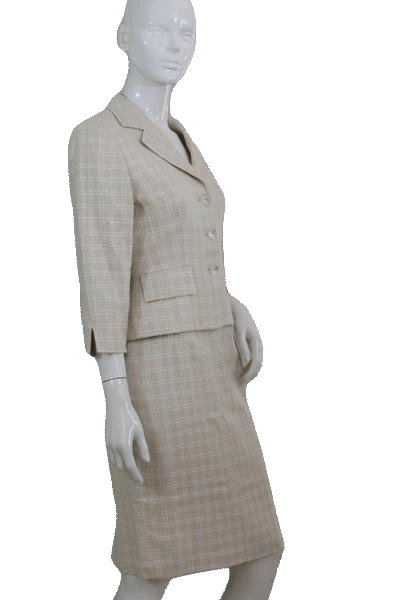 Maggie London Beige and White Two Piece Suit Set  Size 6 SKU 000112