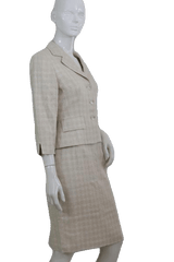 Maggie London Beige and White Two Piece Suit Set  Size 6 (SKU 000112)