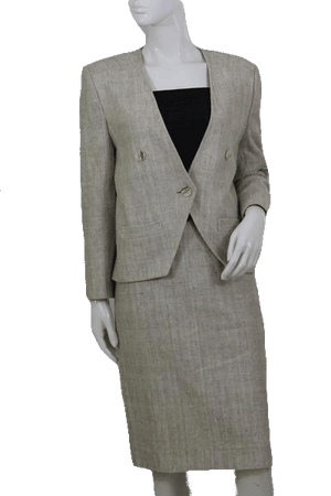 European Design Beige Two Piece Skirt Suit Set SKU 000112