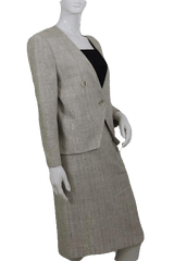 Beige European Design Two Piece Skirt Suit Set (SKU 000112)