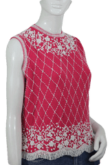Pink Knit Top Embellished with White Beading (SKU 000010)
