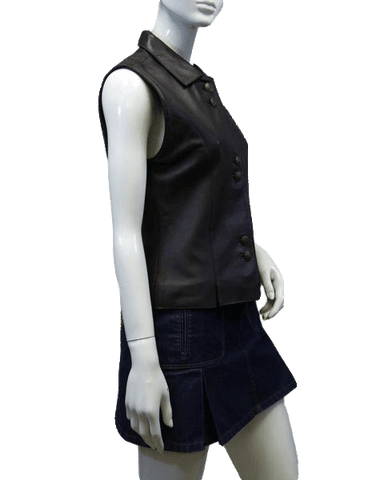 Leather Vest Ladies Brown Real Leather Size S (SKU 000038)