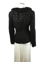 Anne Klein Black Fitted Ruffle Collar Blazer Size L (SKU 000007)
