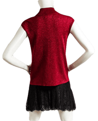 Sparkling Red High Neck Sleeveless Top Size M (SKU 000089)