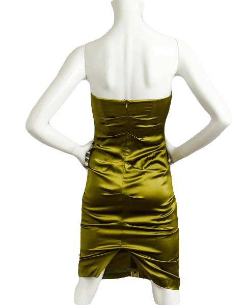 Nicole Miller Heritage Silk Dress Olive Green Size 0 SKU 000077