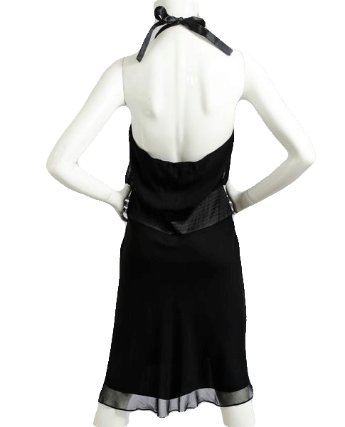 Little Black Silk Halter Dress Size 6 (SKU 000085)