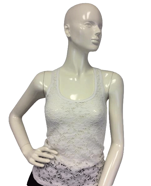 Aeropostale White Flower Stretch Tank Top Size SP SKU 000081