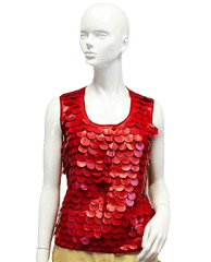 Red Petals Tank Top Vegan Leather Size XL (SKU 000039)