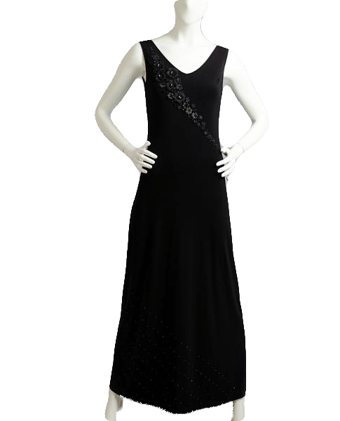 Dress Long Formal Black Embellished Sz S SKU 000085