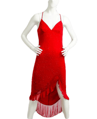 La Fiesta Red Beaded Dress Sz 3/4 (SKU 000087)