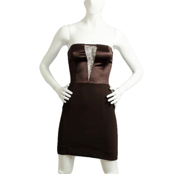 Maria Bianca Nero Intrigue Me Brown Lace Insert Dress Size P (SKU 000066)