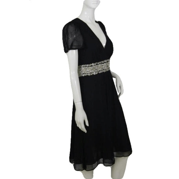 Monsoon Black Dress with Gold Embroidery Pattern on the Waist Size 8 SKU 000172