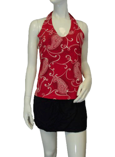 Red Paisley Love Halter Top Size L (SKU 000089)