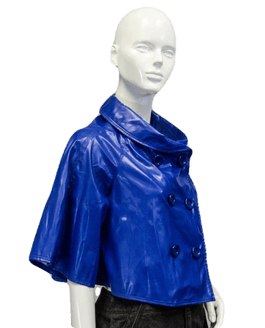 Patent Leather Vegan Cobalt Blue Crop Coat Size Medium (SKU 000038)