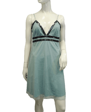 Charlotte Russe Teal Mesh Dress Sequin Trim SZ Large SKU 000066