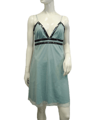 Teal Mesh Dress with Sequin Trim Size Large (SKU 000066)