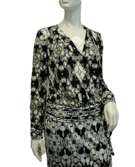 Cache Black and White Print Dress Size Small (SKU 000075)