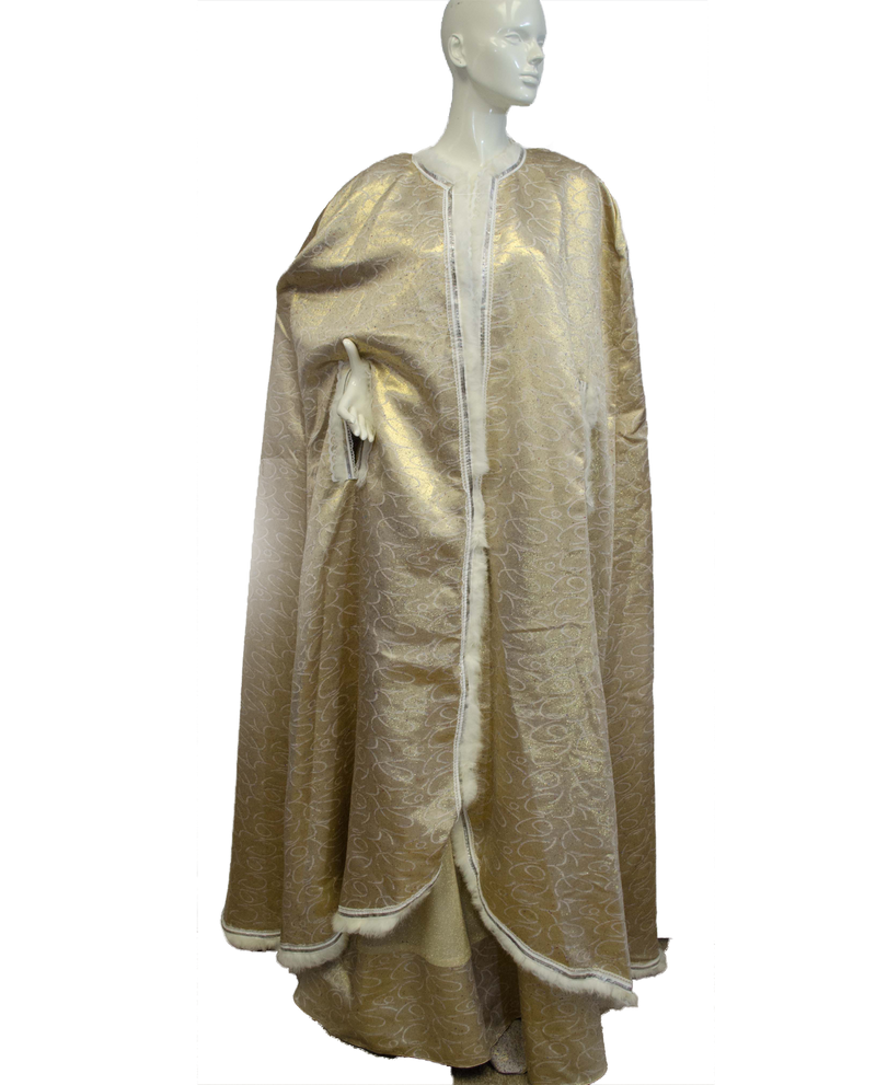 Mardi Gras Gold Dress and Cape Size Small (SKU 000077) - Designers On A Dime - 3