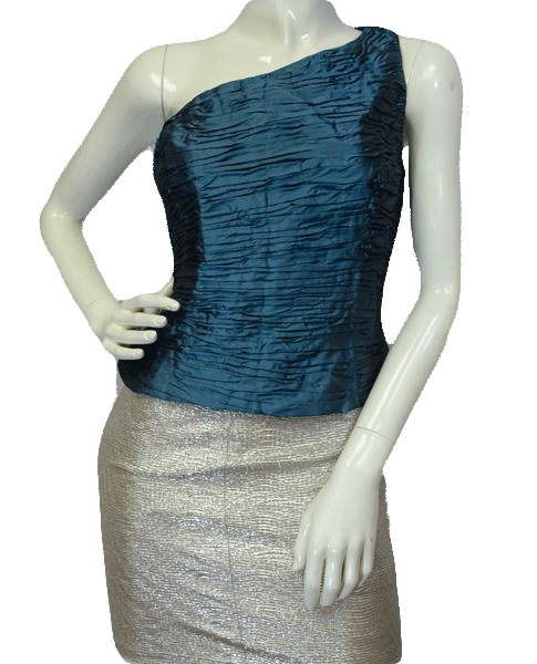 Chetta B Ruffled Silk Top Green Size 14 SKU 000081