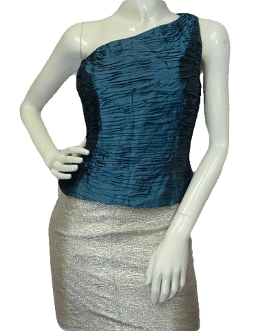 Blue Ruffled One Shoulder Silk Top Size 14 (SKU 000081)