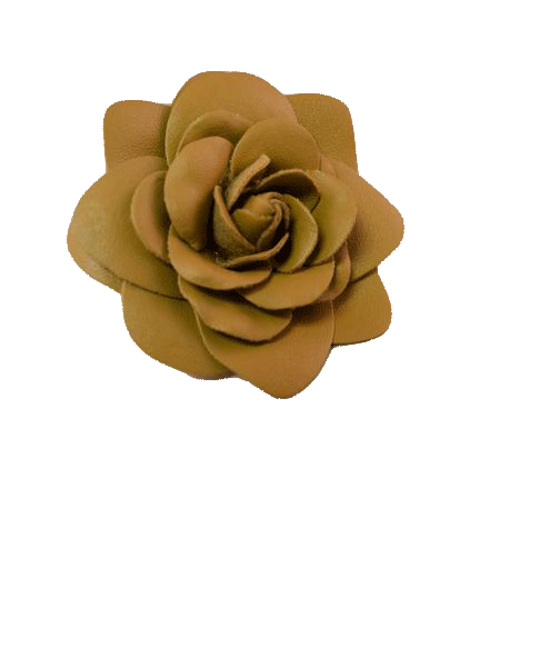 NO SKU Tan Leather Camelia Broach