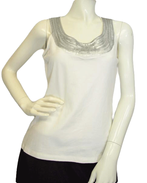 Chaus Top Silver Sequin Trimmed Size Small  SKU 000025