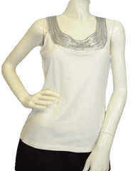 Chaus Silver Sequin Trimmed Top Size Small  (SKU 000025)