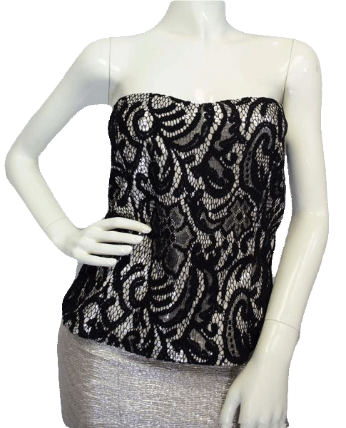 Janice Bustier Black Lace Over Silver  Size XL SKU 000025