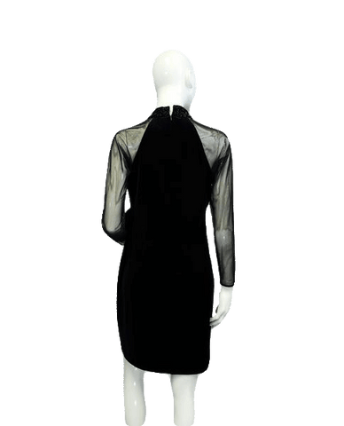 Little Black Velvet and Mesh Long Sleeve Dress Size 8P (SKU 000078)
