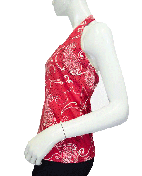 The Limited 70's Halter Top Red Paisley Size L NWT SKU 000089