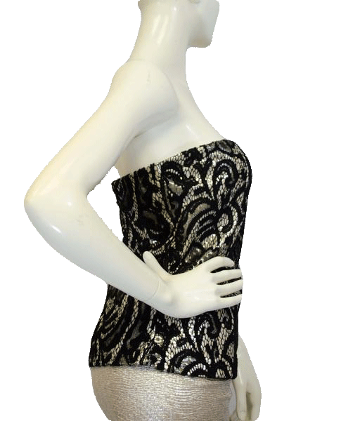 Black Lace over Silver Strapless Top SIze XL (SKU 000025)