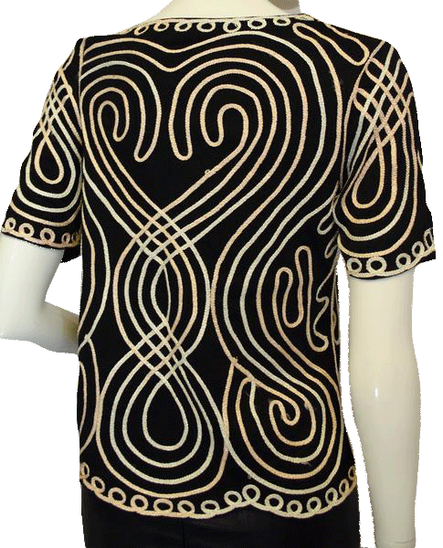 Black Embroidered with Hearts Top Size Small (SKU 000025)