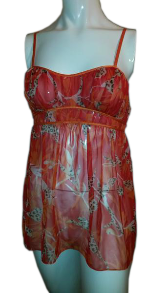 Designers on a Dime Orange Spaghetti Strap Baby Doll Tank Top Size Small SKU 000170