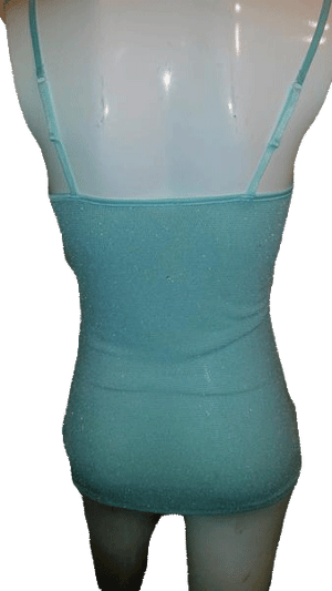 Designers on a Dime Aquamarine Tank Top with Metalic Sparkle Size Small SKU 000170