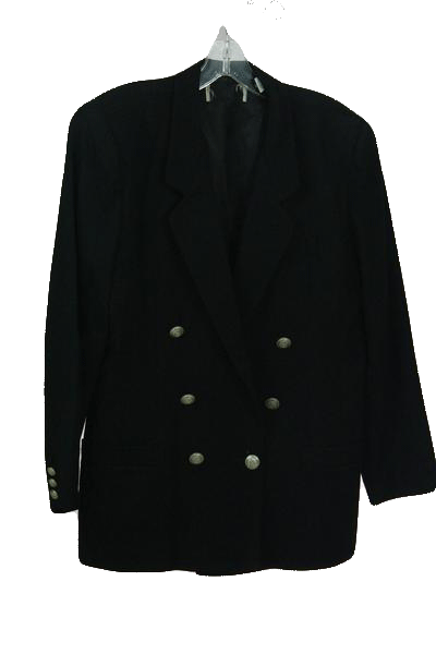 Designers on a Dime Black Double Breasted Jacket with Silver Buttons Sz 14 P (SKU 000157)