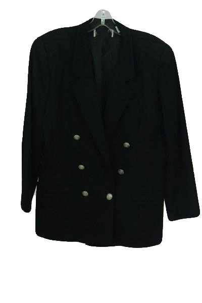 Designers on a Dime Black Double Breasted Jacket with Silver Buttons Sz 14 P SKU 000157