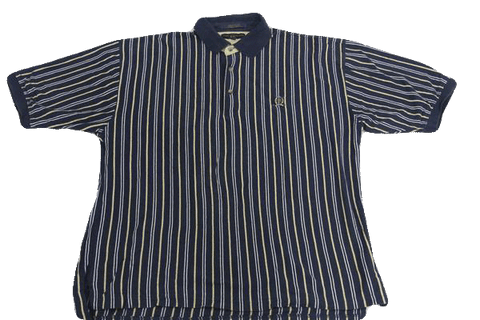 MENS Tommy Hilfiger Blue and White Stripe Short Sleeve Shirt Size XL (SKU 000160)