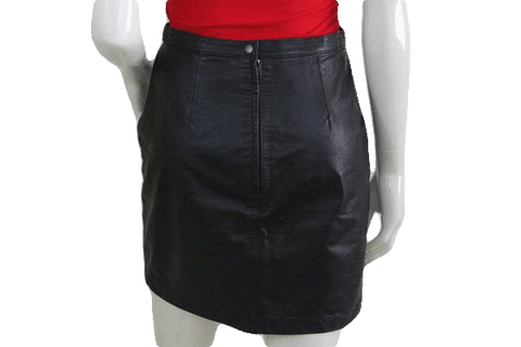 Tip Top Black Leather Mini Skirt Size 9/10 (SKU 000074)