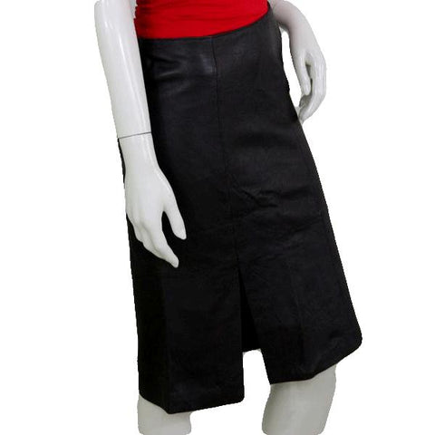 III State Dark Brown Leather Below Knee Length Skirt Size 6 (SKU 000074)