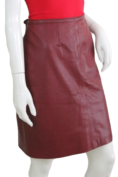 Mix It Red Leather Above Knee Length Skirt Size 12 SKU 000074