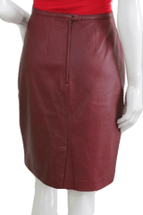 Mix It Red Leather Above Knee Length Skirt Size 12 (SKU 000074)