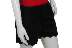 Very J Black Velvet Shorts with Leather Banding (SKU 000120)