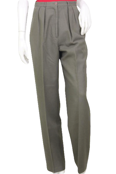 Alfred Sung 100% Wool Olive Pleated Dress Pants Size 10 SKU 000119