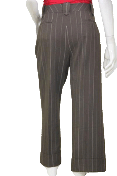 Larry Levine Brown Pants With White Pinstripe Capri Length Pants Size 10 SKU 000119