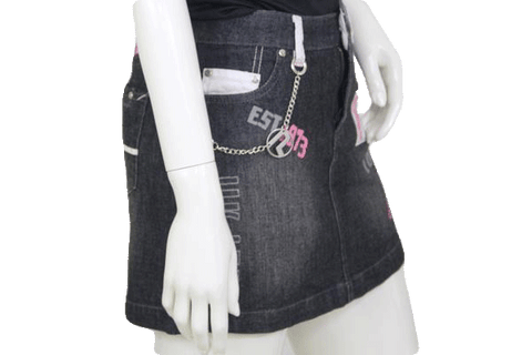 Pepe Jeans Black Jean Mini Skirt with Graphics Size M (SKU 000116)