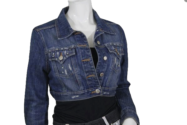 Roommates Jacket Cropped Denim Long Sleeves Medium SKU 000116