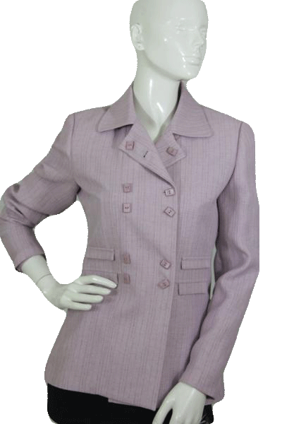 Larry Levine Light Purple Double Breasted Jacket Size 4  (SKU 000174)