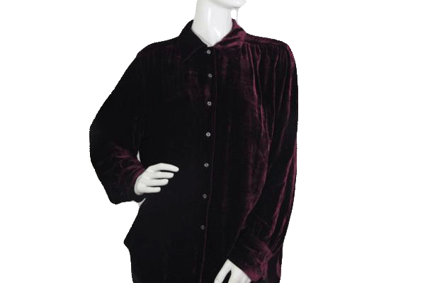 Tommy Hilfiger Burgundy Velour Long Sleeve Shirt Large SKU 000173